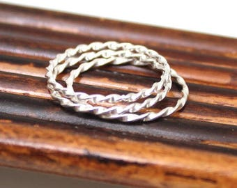 Thin Sterling Silver Spiral Stackable Ring(s), Handmade Stacking Rings - Sold Individually
