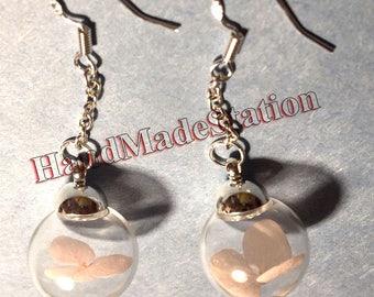 Dried Pink Flower in Glass ball 925 sterling silver earring Handmade