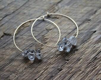 Herkimer Diamond Trio  Gold Filled Hoop Earrings