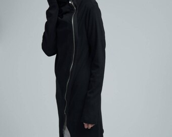 Spring Jacket / Asymmetric Jacket / Black Blazer / Long Jacket / Black Zipped Jacket / Summer Jacket / Marcellamoda - MC0651