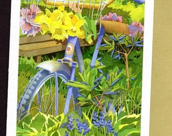 Spring flower celebration cards, set of 4 different blank cards