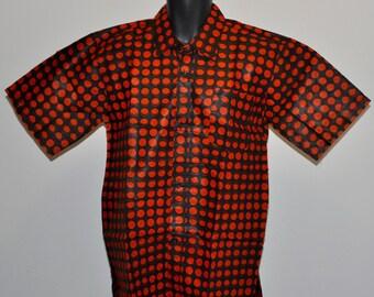 African print short sleeve men shirt