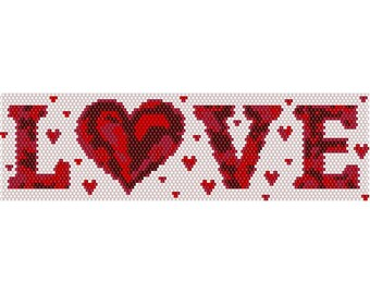LOVE Peyote Bead Pattern, Bracelet Cuff, Bookmark, Seed Beading Pattern Miyuki Delica Size 11 Beads - PDF Instant Download