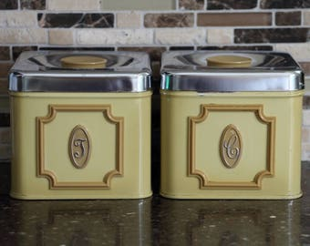 Made in Canada Vintage Yellow Coffee & Tea Canister - Set of 2