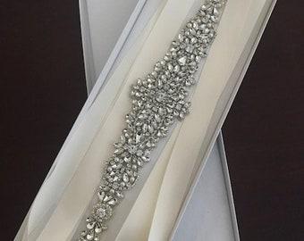 Rhinestone wedding sash style E803 on color double sided ribbon