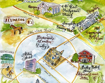 Hand watercolored and calligraphed custom wedding map