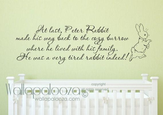 Peter Rabbit Wall Decal Nursery Wall Decal Baby Room Wall