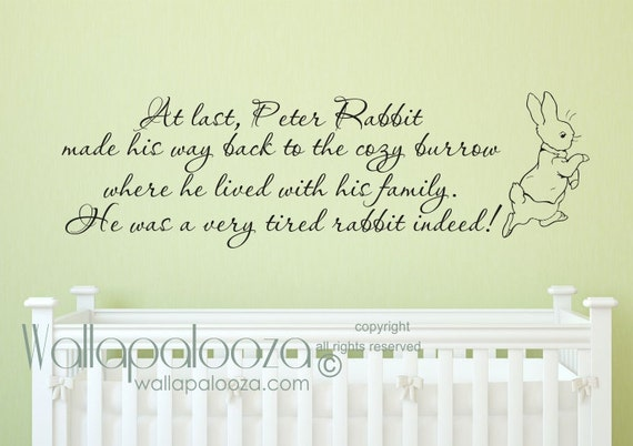 peter rabbit wall decal nursery rhymes nursery wall decal
