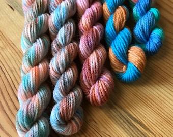 Hand Dyed Sock Yarn Mini Skein Set #9 -- 5 Mini Skeins/40 Yards Each