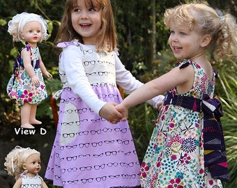 CHARLEY~ Dresses & Doll Dress ~ Multi-sized Sewing Pattern for Girls ~  Sizes 2-8 ~ olive ann designs AOD87