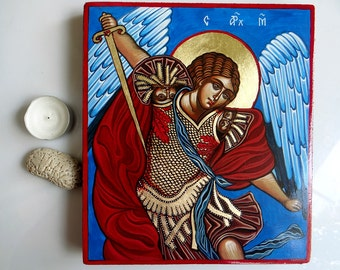 Saint Archangel Michael icon,  handpainted orthodox icon original 10 by 8inches, Warrior Angel - MADE TO ORDER