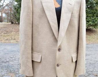 Vintage 70s 80s Linen Wool Mix Blazer 44 Pierre Cardin Union Made USA  Professor Style Beige Oatmeal  Preppy University Smoking Coat