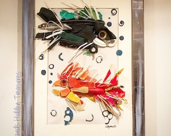 Recycled Beach Plastics Fish Collage