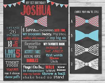 First Birthday Chalkboard Poster Printable - Bow Tie - First Birthday Chalkboard Sign