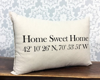 personalized pillow, home sweet home, coordinates pillow, accent pillow, longitude and latitude pillow, housewarming gift, personalized gift