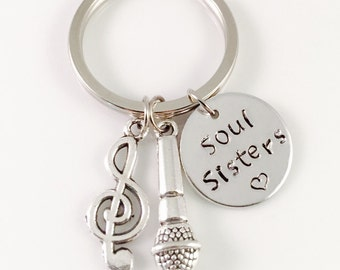 Music Keychain, Soul Sisters Keychain, acapella band, voice coach, musical,  music note charm, mic, theatre, vocalist, singer, gift for her