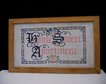 Vintage Sampler / Home Sweet Apartment / Large Unique Cross Stitch Wall Hanging