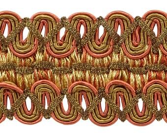 6 Yard Value Pack of Vintage 2 Inch (5cm) Wide Copper, Olive Green, Light Gold Gimp Braid Trim - Rust 07 (18 Ft / 6.5m)