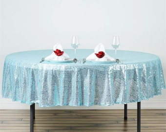 "90"" Aqua Irridescent Blue Tablecloth Round Ready to Ship"