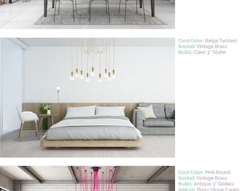 Multi Pendant Bedroom Chandelier Modern chandelier Beige Neutral brass - Unique Modern Lighting - Contemporary Bedroom & Modern lighting | Etsy