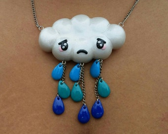 Sad Rainy Cloud Polymer Clay Pendant Necklace and Earrings