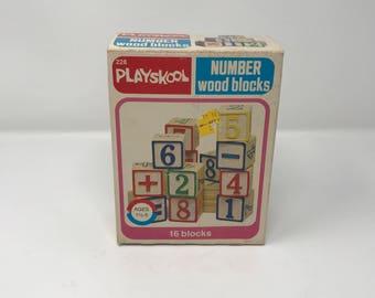 Vintage 1978 Playskool (228) Number Blocks - Set Of 16 - 100% Complete