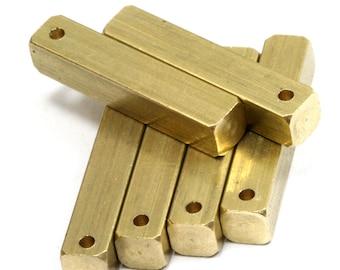 "Raw brass bar square stamping 4 pcs 5x25mm 3/16""x1""  square rod (1,5mm 1/16"" 15 gauge hole ) sbl525-1097"