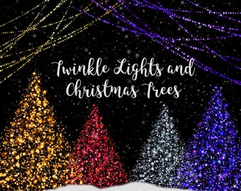 Christmas trees and lights clipart, glowing Christmas trees, Christmas tree lights, bokeh Christmas tree, string lights, trees and lights