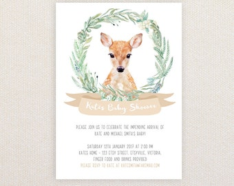 Neutral Baby Shower Invitation. Fawn in wreath. I Customize, You Print.