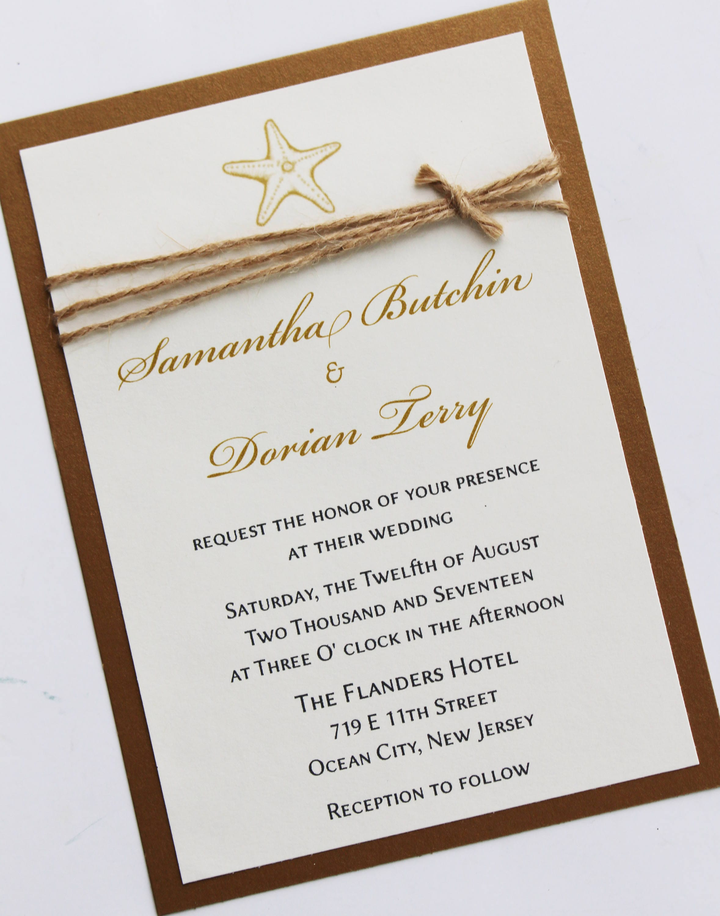 Rustic Starfish Wedding Invitation Natural Twine