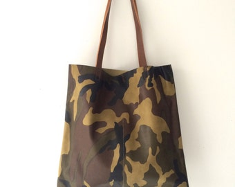 Camouflage Leather Tote bag -Minimal leather tote - camo leather bag- Sale