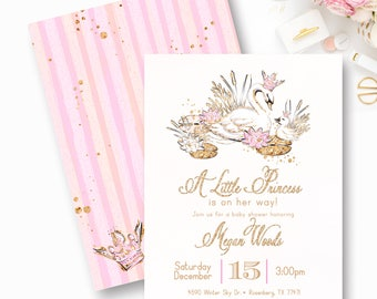 Swan Baby Shower Invitation, Swan Princess Baby Shower, Pink and Gold, Baby Shower, It's a Girl-0076