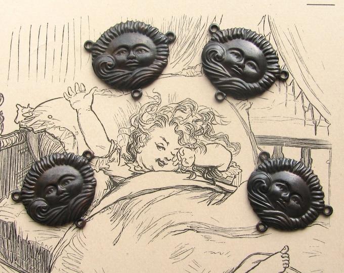 Sun face necklace link - black antiqued brass (4 sun links) Face behind cloud, sun connector Fallen Angel Brass