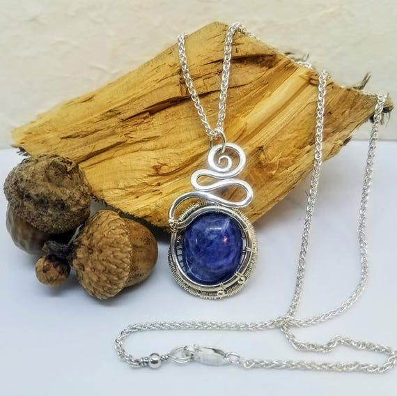Natural Blue Sodalite Stone In .935 Argentium Silver Wire Wrapped Pendant With 18 Inch Chain Necklace EP-0005