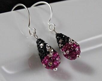 Magenta Bling Earrings (E914) - Swarovski Crystal & Sterling Silver