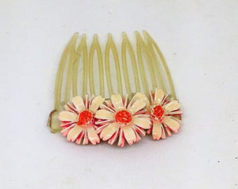 Daisy Hair Comb, Vintage Hair Comb, White Enameled Daisy Comb, Orange White Daisy Comb, Hair Comb