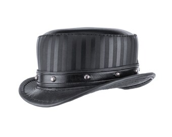 "Leather Top Hat ""Modest Baron"" - Black Circus Hat - Stovepipe Top Hat - Steampunk Top Hat - Leather Short Top Hat - Burning Man Hat - Festie"