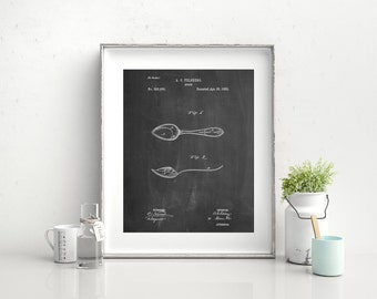 Training Spoon Patent Poster, Dinnerware, Antique Silverware, Dining Room Decor, Kitchen Wall Art, PP0236