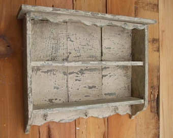 Tall Cream off-white vintage shabby chic distressed handmade wall shelf old looking, Distressed wall shelf, with hooks, CEDAR