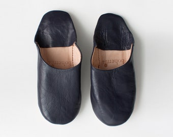 Women's Leather Slippers || Traditional Moroccan Basic Babouche || Hand Dyed With Natural Colour || Indigo