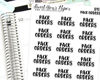 Pack Orders Planner Stickers - Script Planner Stickers - Lettering Planner Stickers - Typography Stickers - Shop Owner Stickers - 1890