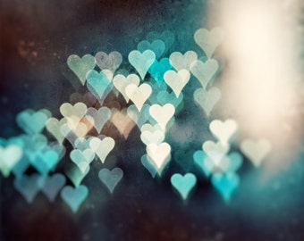 """Abstract Heart Photography - teal turquoise brown beige print, large love dark photo, sparkle lights wall art decor, """"Whispers of the Heart"""""""