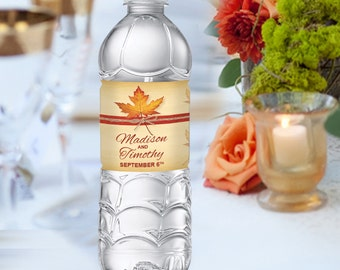 Fall Leaf Water Bottle Labels FALL-01-WBL-Digital Download