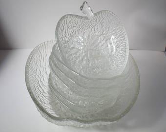 Vintage glass apple shaped bowl set, fruit salad bowls, trifle bowls, salad bowl, fruit bowl, vintage tableware