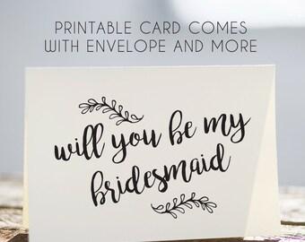 bridesmaid card, printable bridesmaid card, will you be my bridesmaid card, card for bridesmaid