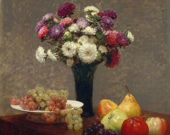 Henri Fantin-Latour: Asters and Fruit on a Table. Fine Art Print/Poster. (4944)