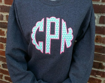 Monogrammed Sweatshirt-Monogram Sweatshirt-Monogrammed Crew Neck Sweatshirt-Scallop Monogram Sweatshirt-Adult and Youth Sizes