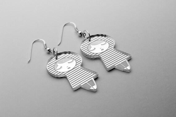Doll earrings with striped pattern - little sailor - cute matriochka jewelry - kawaii kokeshi jewellery - sterling silver - lasercut perspex