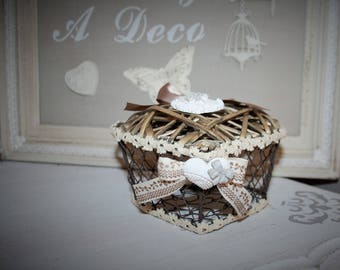 Iron basket in the shape of heart and basket lid