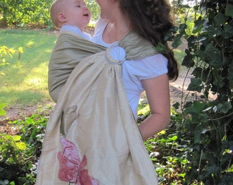 Baby Ring Sling - Signature Series 7 - Pure SILKS Ring Sling Baby Carrier - Completely Reversible - w DVD TUTORIAL - Freestyle sewing